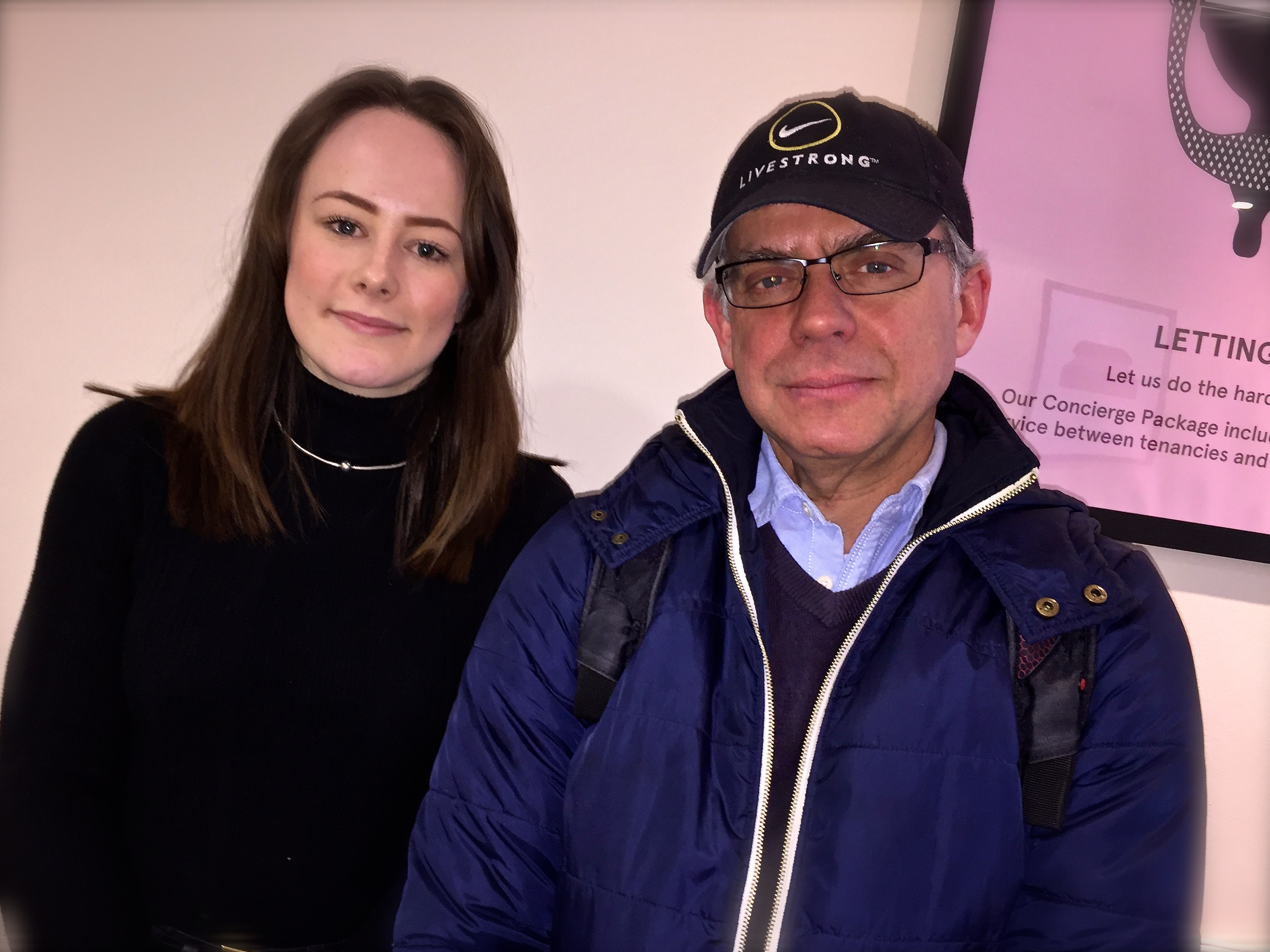 Lucy Carr and Richard Kurti at a Clapham estate agents, London SW4
